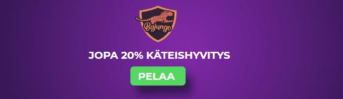 jopa 20 käteishyvitys - Hyödynnä jopa 20% käteispalautus Bajungolla