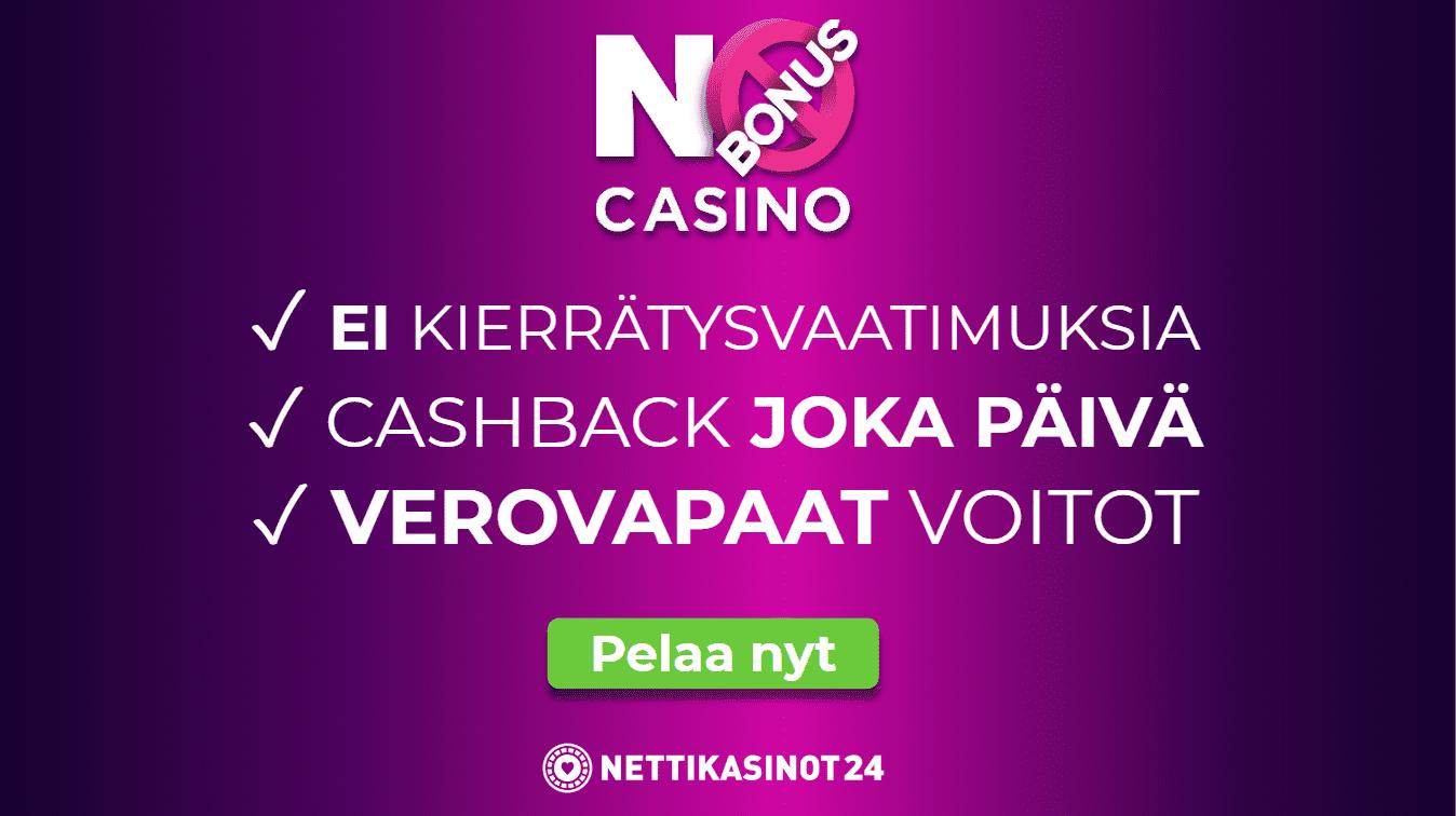 No Bonus Casino käteishyvitys kaikille